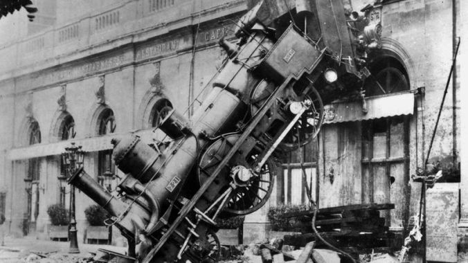 Accident de chemin de fer a la gare Montparnasse en 1895