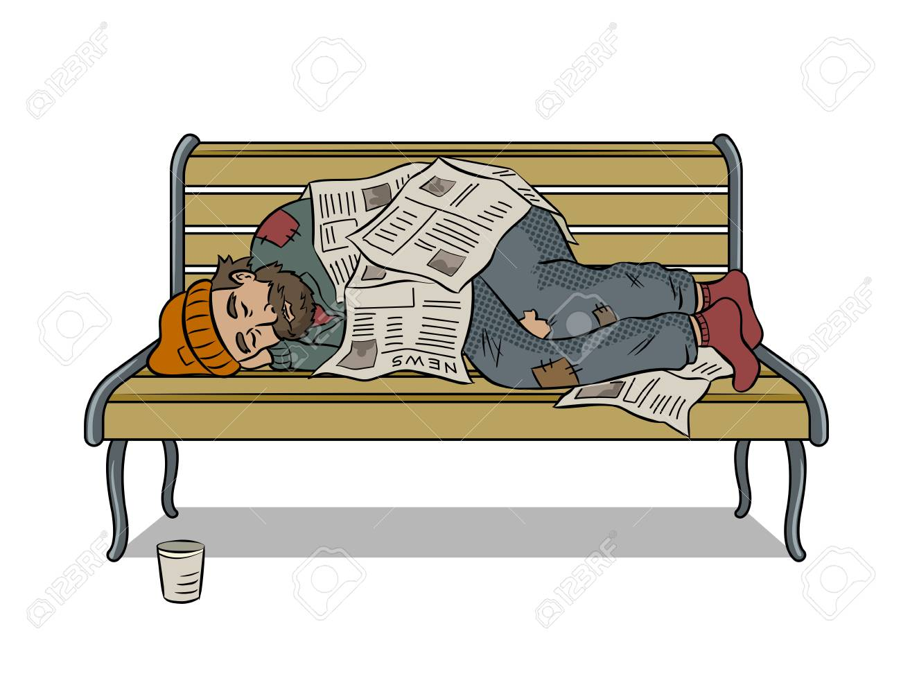 Homeless man on bench pop art vector